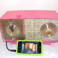 Pink GE AM  Clock Radio iPod Ready 1960s