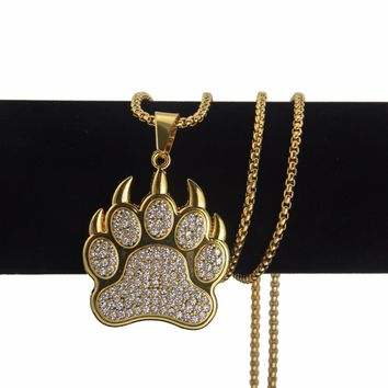 Diamond Gold Bear Paw Pendant with Chain