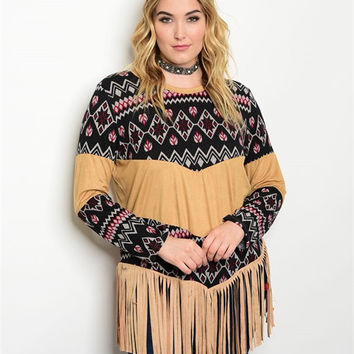 Black and Taupe Printed Long Sleeve Top with Fringe Detail
