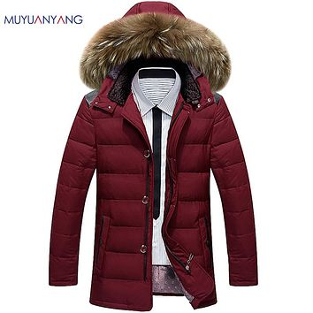 Jackets Man Fur Hooded Men's Down Jackets Warm Snow Coats Overcoat Slim Fitted
