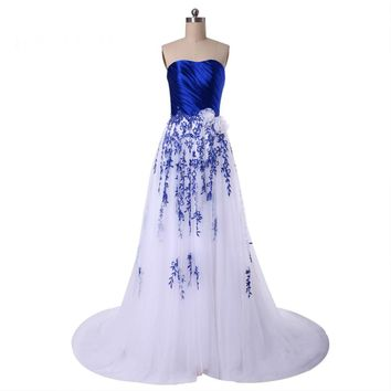 Tulle A Line Appliques Beads Flowers Lace up Long Evening Party Dresses