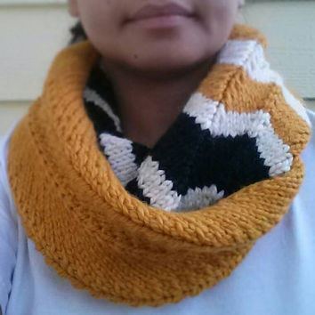 Hand Knit Chevron Infinity Scarf  in Gold, Ivory, and Black