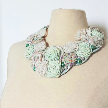 Romantic statement necklace, fabric flower bib necklace, shabby chic, boho chic, vintage necklace
