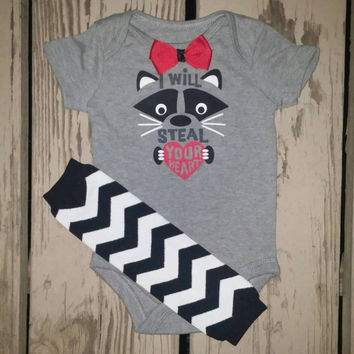 Steal Your Heart Boys Valentine Onesuit Outfit - Baby Boy - Funny Onesuit - Red - Chevron -  Bow tie - Leg Warmers - First Valentine's