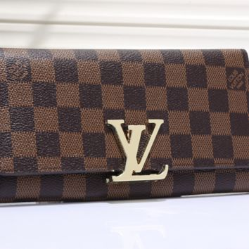 LV fashion leather spell color long wallet[380408889380]