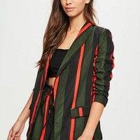 Missguided - Green Striped Gathered Sleeve Blazer