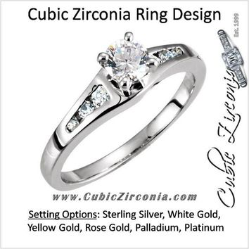 Cubic Zirconia Engagement Ring- The Lena (Customizable 7-stone with Round Channel)