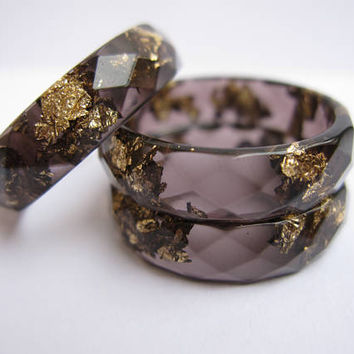 Black Resin Ring With Gold Flakes, Resin Stacking Ring, Minimal Resin Jewelry, Valentines Day Gift