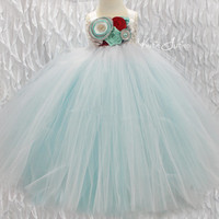 Aqua, White, Red Tutu Dress- Flower Girl, Birthday, 1st birthday, flowers, toddler, baby girl, pageant dress, wedding, smash