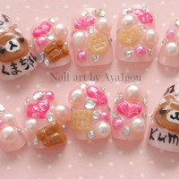 Kawaii nails, Japanese 3D nails, decoden, sweets, kuma, bear, heart, pastel, fairy kei