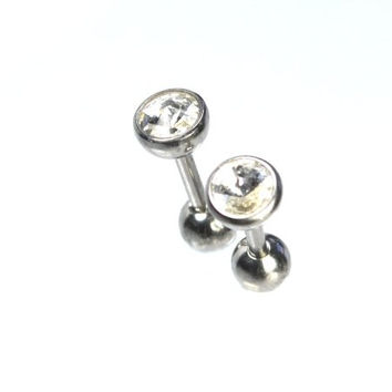Set of 2 316L Stainless Steel 1/4 Inch 16G Cartilage Tragus Earring Set of 2 5mm Labret CZ Clear 292