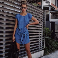 Summer new denim lace dress