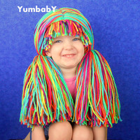 Clown Pigtail Wig- Baby GIrl Halloween Costume- Pink Purple Blue Green Yellow Orange