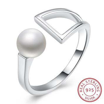 Women's 925 Sterling Silver Ring Pearl Open Ring Geometric Shape Ring