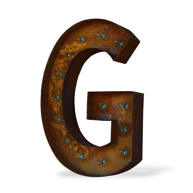 "36"" Letter G Lighted Vintage Marquee from The Rusty Marquee"