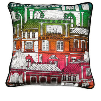 Paris roofs and houses red, pink, green, orange, cotton graphic print, cushion, throw pillow, home decor, 18 x 18 inches,