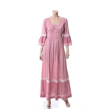 Vintage 60s Andrade Hawaiian Prairie Dress 1960s Hippie Lace Wedding Maxi Boho Festival Country Calico Gown