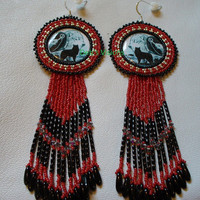 Native American Style rosette beaded Indian Maiden and Wolves earrings in red silver and black