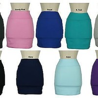 Solid stretch Jersey Bodycon cotton  MINI Skirt  multi colors Casual sports new