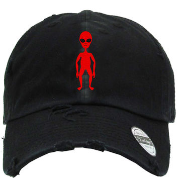 Red Alien  Distressed Baseball