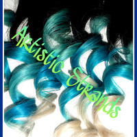 Blue / Turquoise / White Tips / Ombre Hair Extensions / 8-10 Inch Long / Real Remy Hair / (8) Piece Set / Dip Dyed