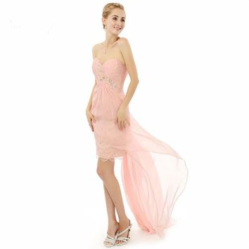 Charming Beaded Lace Chiffon Special occasion Photo short front long back evening dresses