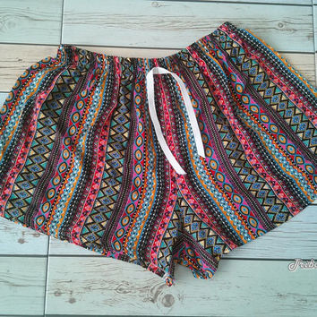 Boho Aztec Ethnic Ikat Pattern Printed Beach Shorts Tribal Clothing Bohemian Summer Comfy Cotton Rayon Cute Women Clothes Unique Colorful