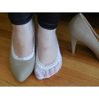 Lace Socks For Flats And High Heels Shoe Linner Color White