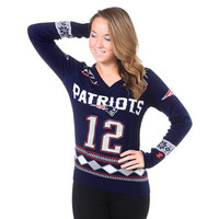 New England Patriots Brady T. #12  NFL Womens Glitter V-Neck Sweater