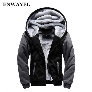 ENWAYEL Autumn Winter Thick Velvet Hoodie Casual Men Jacket Coat Warm Male Moleton Soft Male Moletom Mens Jackets Hooded W02