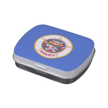 Patriotic candy tins with Flag of Minnesota