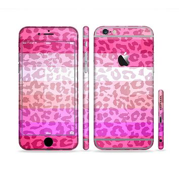 The Hot Pink Striped Cheetah Print Sectioned Skin Series for the Apple iPhone 6 Plus