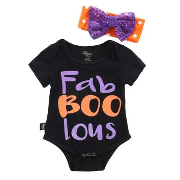 Newborn Kids Halloween Clothes Set Infant Baby Girls Short sleeve Romper Jumpsuit Outfits