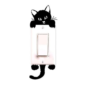 Cute New Cat Wall Stickers Light Switch Decor Decals Art Mural Baby Nursery Room Sticker PVC Wallpaper for living room