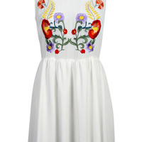 Esther Embroidered Floral Chiffon Skater Dress