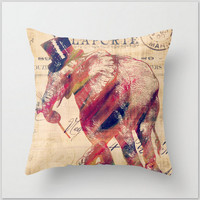 """20"""" x 20"""" Decorative Elephant Throw Pillow Hand Sewn Insert Included Two Sided Print"""