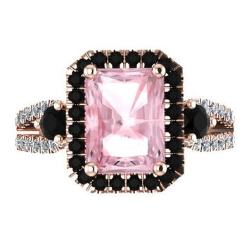 Emerald Cut Pink Morganite Engagement Ring Black Diamond Halo Morganite Ring Stone Custom Engagement Ring 14K Rose Gold Engagement - V1091