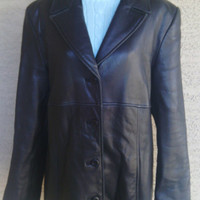 Women's lambskin jacket coat black vintage medium Valerie Stevens New Zealand lambskin leather
