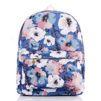 Floral Painting Canvas Lightweight Casual Backpack