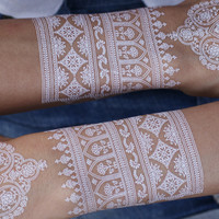 White Henna Temporary Tattoo Floral. 2 Sheets