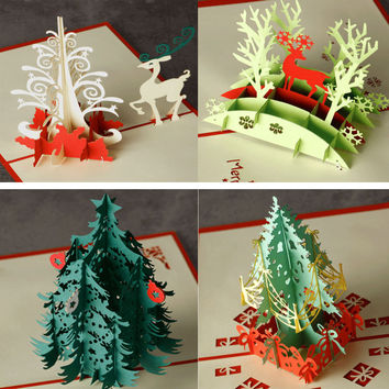 Christmas Castle Tree elk 3D laser cut pop up paper handmade postcards custom greeting cards Xmas gifts souvenirs postcards