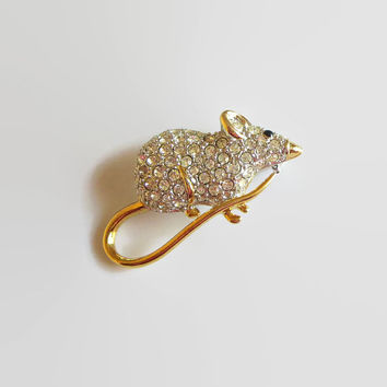 Vintage Pave Mouse Brooch, Gold over Silver Tone Metal, Rhinestone Pin, Dimensional, Adorable!