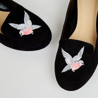 Black Suedette Bird Embroirdered Tab Slipper Shoes | New Look