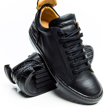 YLATI Amalfi Low 1.0 Black Leather/Metal Sneaker