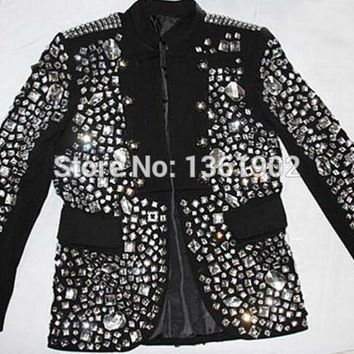 Plus size Custom made black Crystal jacket male singer dancer performance stones outerwear costume rhinestone jacket outfit
