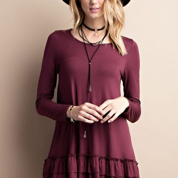 Deep Plum Long Sleeve Ruffle Tunic
