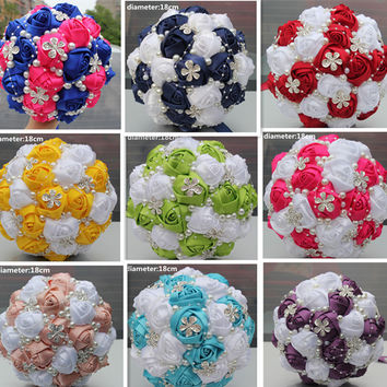 5 Piece/lot Custom-Make Wedding/Bridesmaid Bouquets Flowers Bridal Bouquets Artificial Wedding Bouquets with Pearl Diamond