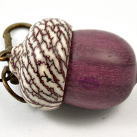 LV-3809  Purpleheart & Betelnut  Acorn Box, Pill Holder, Compartment Pendant-SCREW CAP