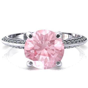 Nancy Round Pink Sapphire 4 Prong 1/2 Eternity Diamond Knife Shank Accent Engagement Ring