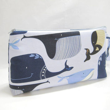 Large Whale Pouch, Whale Diaper Clutch, Blue Zippered Pouch, Travel Bag,  Ready to Ship
